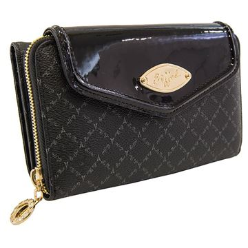 Εικόνα της Γυναικείο πορτοφόλι μεγάλου μεγέθους με δύο διαφορετικές θήκες (λογότυπο) - Μαύρο