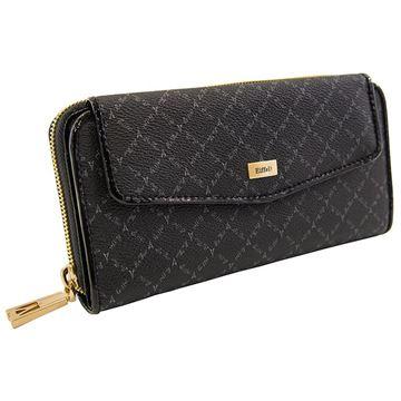 Εικόνα της Γυναικείο πορτοφόλι μεσαίου μεγέθους με δύο διαφορετικές θήκες (λογότυπο) - Μαύρο