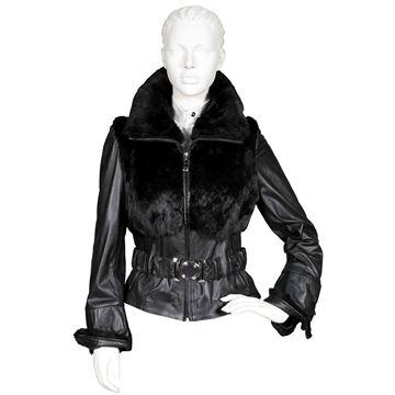 Εικόνα της Μπουφάν Lamp Nappa με γούνα lapin μαύρο - H77