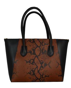 Εικόνα της  Δερμάτινη γυναικεία τσάντα - PE-s705- black-tampa