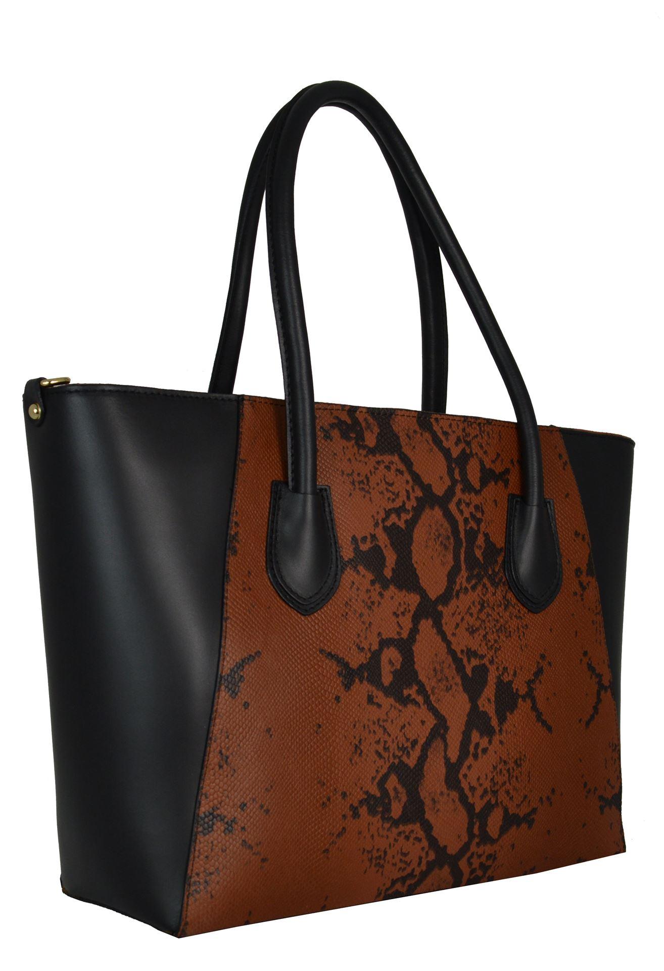 87b2d3debf83 Δερμάτινη γυναικεία τσάντα - PE-s705- black-tampa   tsanta-tsanta.gr