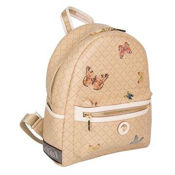 Εικόνα της Μεσαία γυναικεία τσάντα πλάτης με πεταλούδες μπεζ 142030-3Μ