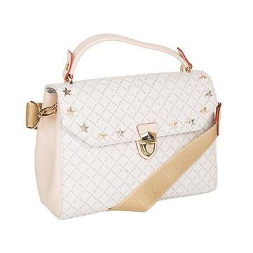 Εικόνα της   Γυναικεία τσάντα χειρός με μεταλλικά στοιχεία λευκό Κωδικός: 171020-1 La Tour Eiffel