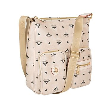 Εικόνα της  Μεγάλη γυναικεία χιαστί τσάντα μπεζ Κωδικός: 122028-1 La Tour Eiffel