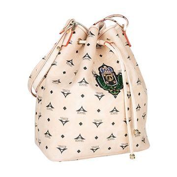 Εικόνα της   Γυναικεία τσάντα ώμου πουγκί ΜΠΕΖ με οικόσημο 36-10495-6XZ