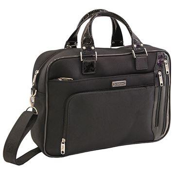 Εικόνα της Επαγγελματική τσάντα μεγάλου μεγέθους με λουστρίνι λεπτομέρειες (λογότυπο) - Μαύρη