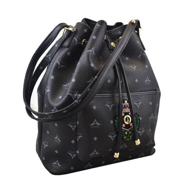 Εικόνα της Γυναικεία τσάντα ώμου πουγκί οικόσημο Μαύρο 36-10495-1