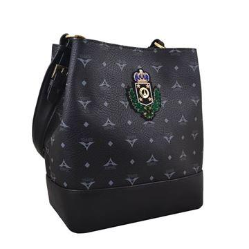 Εικόνα της Γυναικεία τσάντα ώμου τύπου πουγκί Μαύρο 36-161006-1LZ