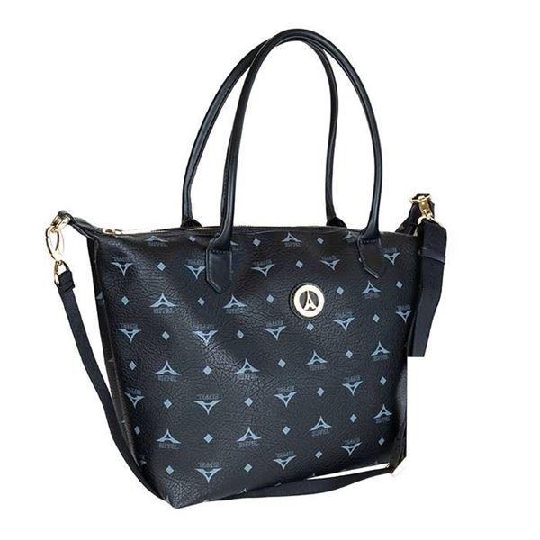 Εικόνα της Μεγάλη γυναικεία τσάντα ώμου Μαύρο 36-171007-2