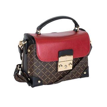 Εικόνα της Γυναικεία τσάντα χειρός/χιαστί Καφέ-Κόκκινο 171-181038-1