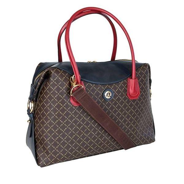 Εικόνα της Μεγάλη γυναικεία τσάντα ώμου Καφέ-Κόκκινο-Μπλε 171-171025-