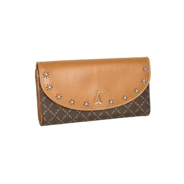 Εικόνα της Γυναικείο πορτοφόλι με στρασάκια καφέ-ταμπά 171021-3