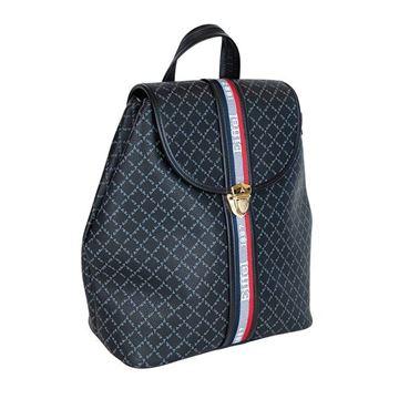 Εικόνα της  Γυναικεία τσάντα πλάτης με ρίγες μαύρη 36-10490-3D