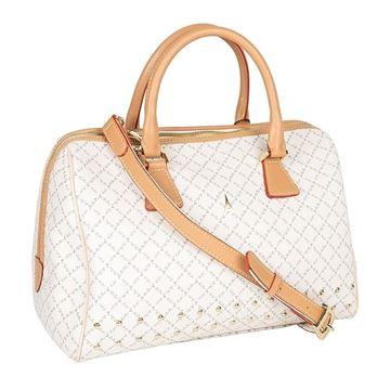 Εικόνα της Γυναικεία τσάντα χειρός μπαουλάκι με τρουκς Λευκό 6396