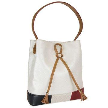 Εικόνα της  Γυναικεία τσάντα ώμου τύπου πουγκί στούθο ΑΣΠΡΗ -161006-