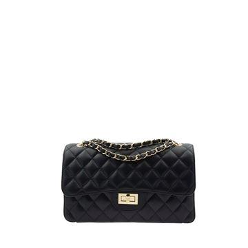 Εικόνα της Δερμάτινη γυναικεία τσάντα - PE-001 - Μαύρη