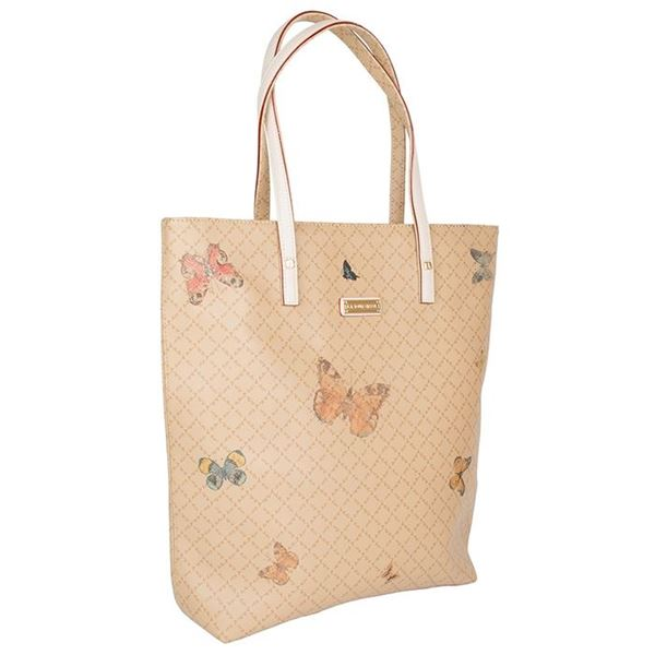 Εικόνα της Γυναικεία τσάντα ώμου με πεταλόυδες μπεζ 111093-2