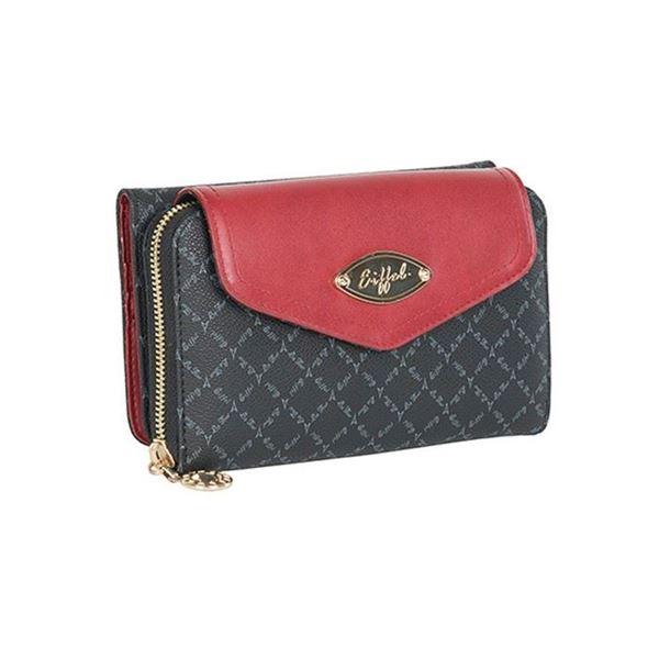 Εικόνα της Γυναικείο πορτοφόλι με διαφορετικές θήκες μαύρο-κόκκινο 15054