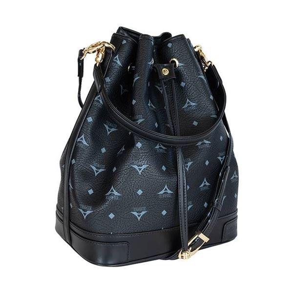 Εικόνα της Μεγάλη γυναικεία τσάντα ώμου πουγκί ΜΑΥΡΗ36-10075L
