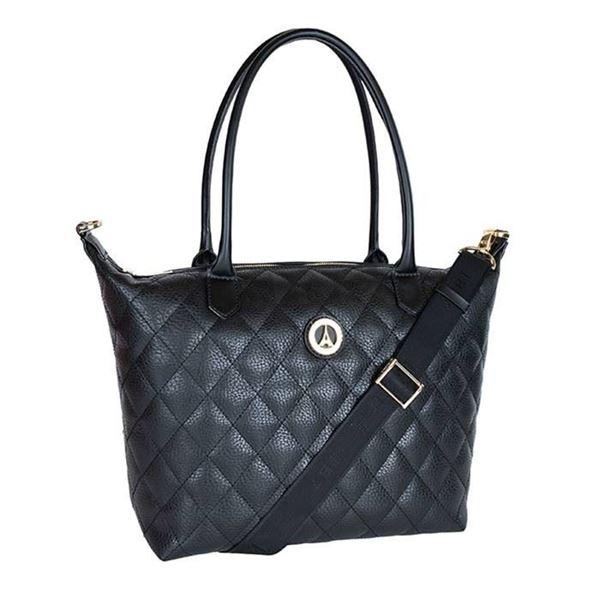 Εικόνα της  Μεγάλη γυναικεία τσάντα ώμου ΔΙΠΛΗΣ ΟΨΕΩΣ  Μαύρο 171-171007-2V