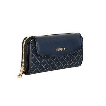 Εικόνα της  Γυναικείο πορτοφόλι μεγάλου μεγέθους με δύο διαφορετικές θήκες μαύρο- μπλε 171-112025