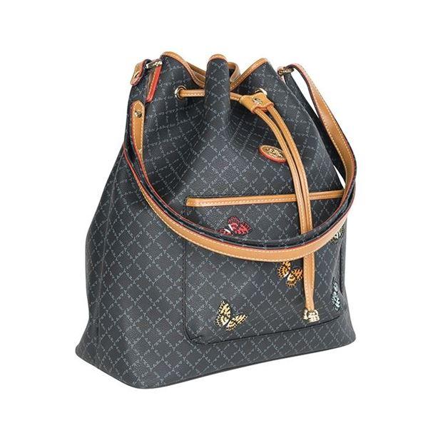Εικόνα της Γυναικεία τσάντα ώμου πουγκί ΜΑΥΡΗ ΜΕ ΠΕΤΑΛΟΥΔΕΣ171-10495-6