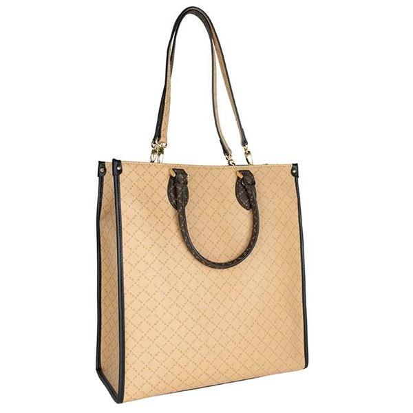 Εικόνα της  Μεγάλη γυναικεία  τσάντα διπλής όψεως χειρός-ώμου καφέ-μπεζ Κωδικός: 171-191009-1Η La Tour Eiffel