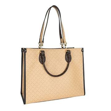 Εικόνα της   Γυναικεία  τσάντα διπλής όψεως χειρός-ώμου καφέ-μπεζ Κωδικός: 171-191009-1S La Tour Eiffel
