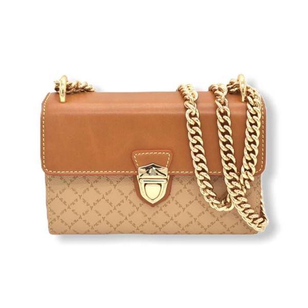 Εικόνα της  Μικρή γυναικεία τσάντα με αλυσίδα μπεζ-ταμπά  171-181024