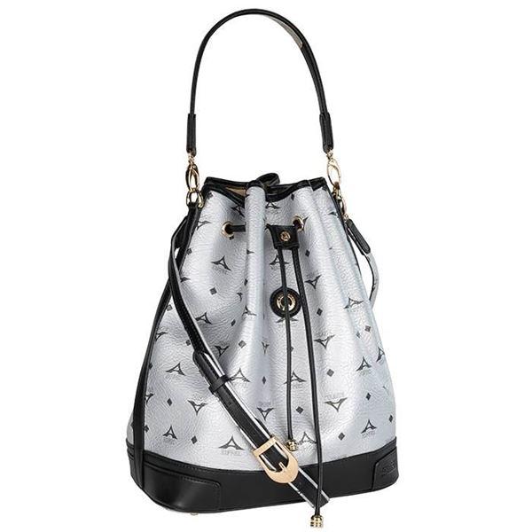 Εικόνα της  Μεγάλη γυναικεία τσάντα ώμου πουγκί Ασημί 36-10075L