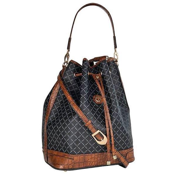 Εικόνα της  Μεγάλη γυναικεία τσάντα ώμου πουγκί ΜΑΥΡΟ-ΚΑΦΕ  171-10075L