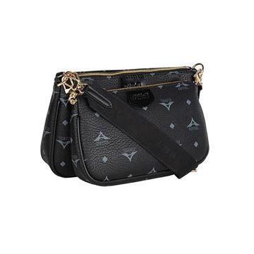Εικόνα της Γυναικεία διπλή τσάντα χιαστή με ιμάντα και αλυσίδαί Μαύρο 36-201005-1 la tour eiffel