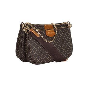 Εικόνα της  Γυναικεία διπλή τσάντα χιαστή με ιμάντα και αλυσίδα καφέ 171-201005-1 la tour eiffel