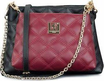 Εικόνα της Γυναικεία τσάντα διπλή πολυμορφική χιαστή FRNC WAL045 bordeaux black