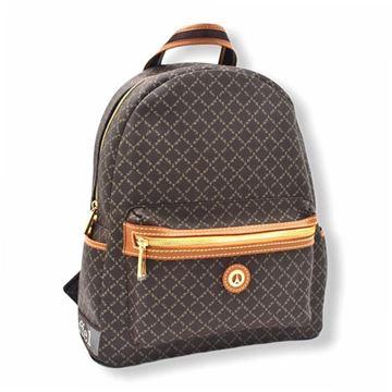 Εικόνα της Μεγάλη γυναικεία τσάντα πλάτης καφέ 171-142030-3
