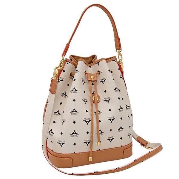 Εικόνα της  Μεγάλη γυναικεία τσάντα ώμου πουγκί εκρού36-10075L