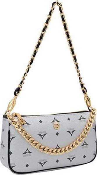 Εικόνα της   Γυναικεία τσάντα ώμου/χιαστί ασημί36-201021-1