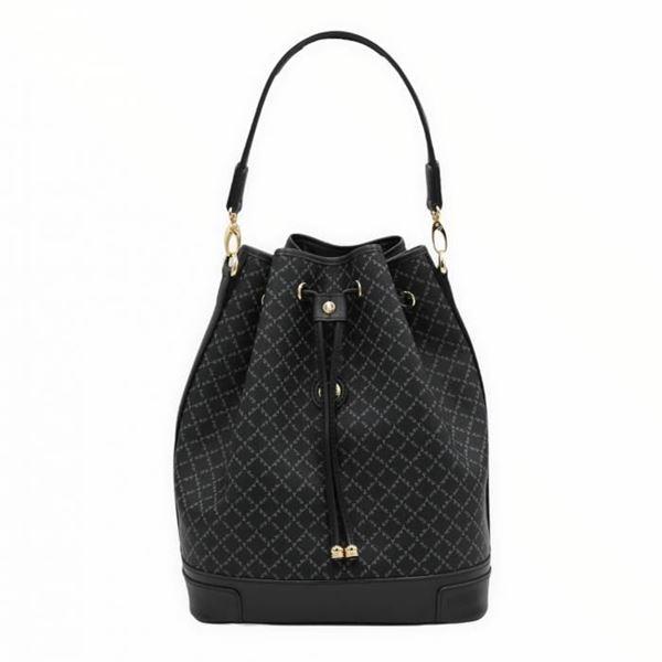 Εικόνα της Μεγάλη γυναικεία τσάντα ώμου πουγκί ΜΑΥΡΗ 171-10075L
