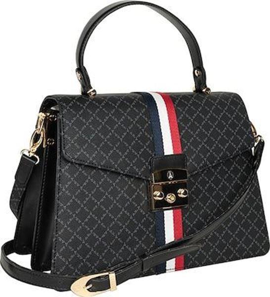Εικόνα της Γυναικεία τσάντα χειρός με ρίγες μαύρο  171033-3AD